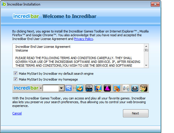Incredibar Toolbar on IE