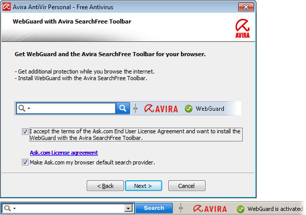 Avira SearchFree Toolbar plus Web Protection Updater
