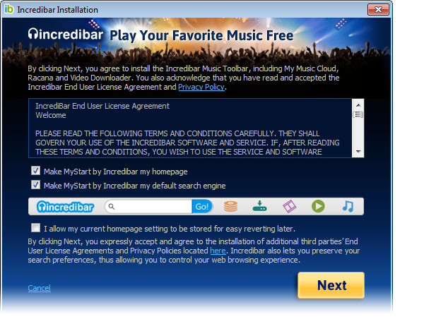 IncredibarMusic Toolbar on IE